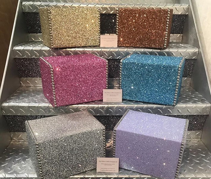 glitter ashes boxes